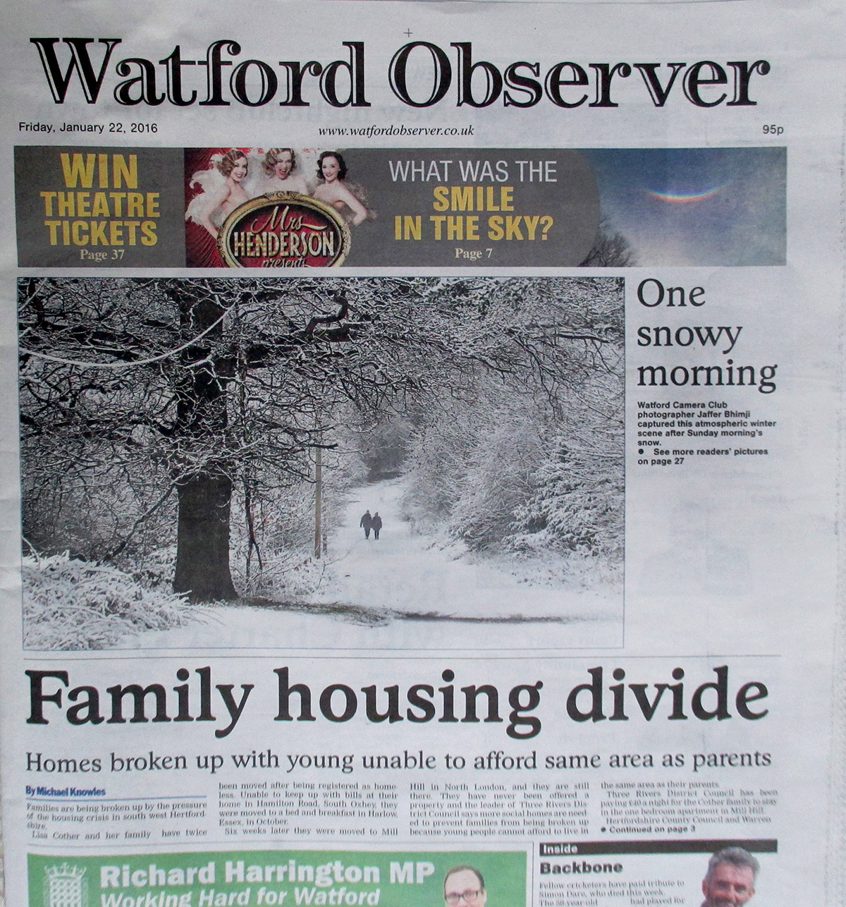 Jaffer Bhimji makes the Watford Observer front page yet again